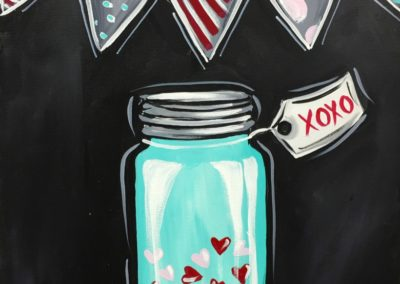 Mason Jar with Hearts