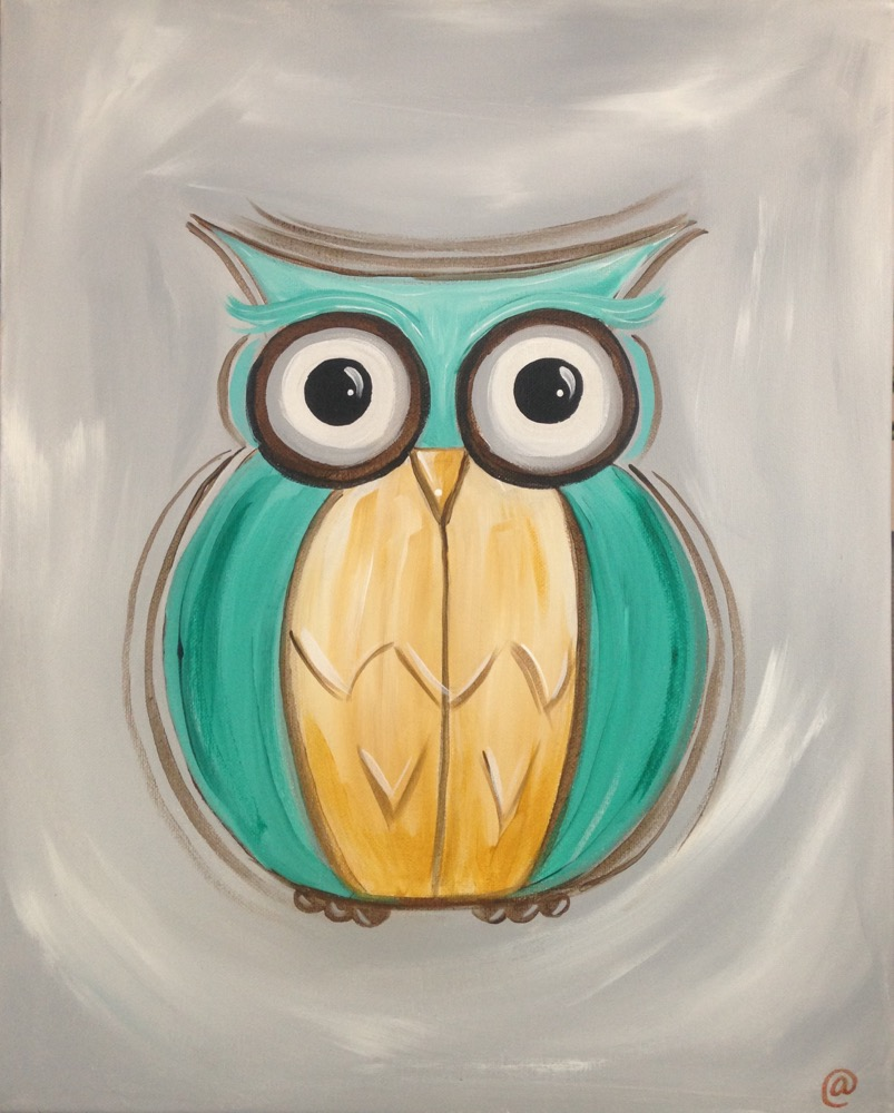 Teal Owl on Gray Background