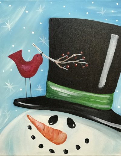 Glitter Snowman with Top hat