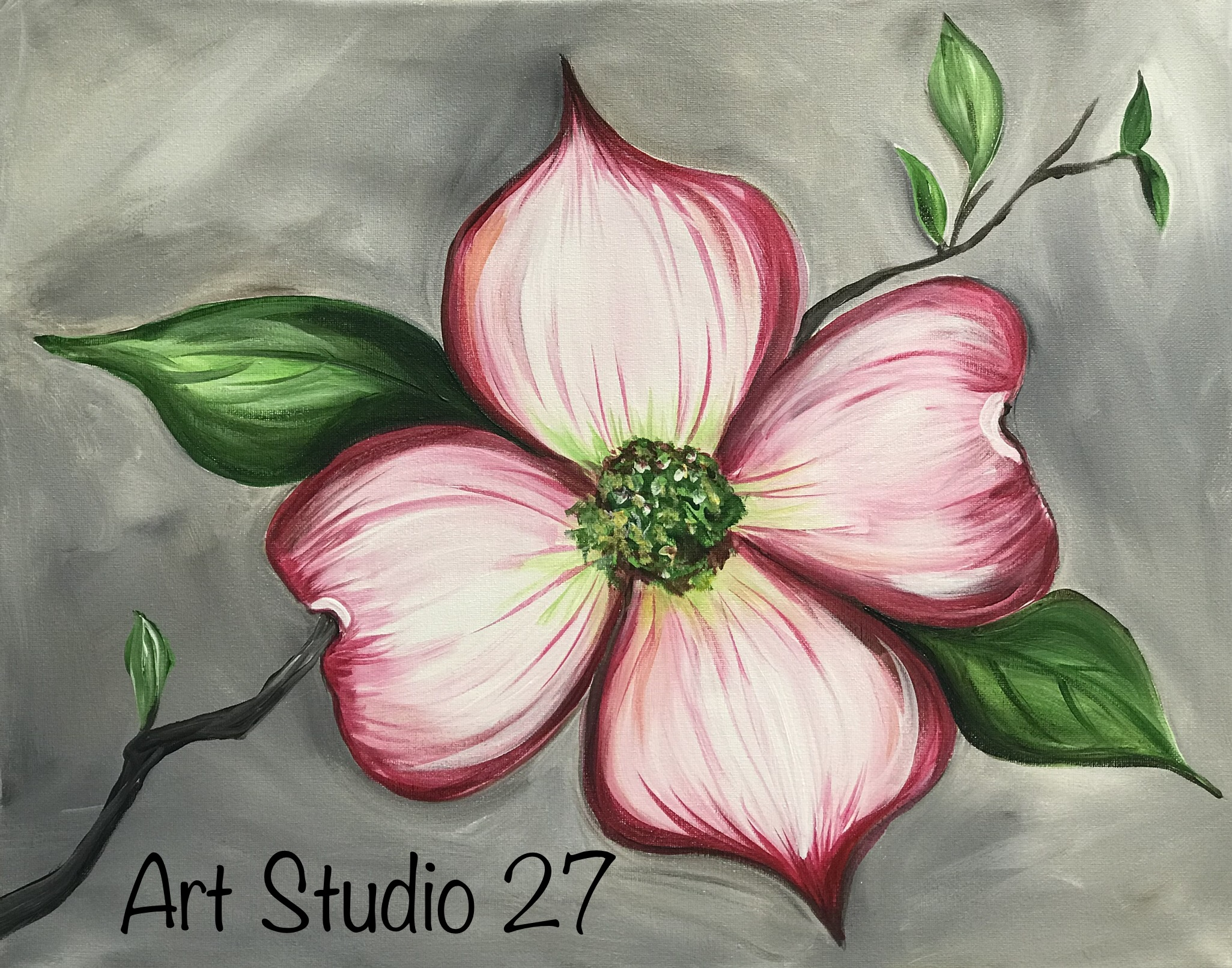 sip and paint dogwood blossom art studio 27 sip and