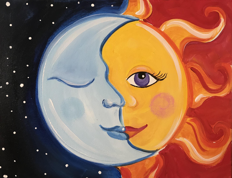 Sip And Paint- Moon & Sun